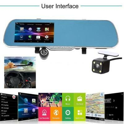 "Android Smart GPS Navigation 5"" HD Car Rearview Mirror DVR Dual Lens Camera New"