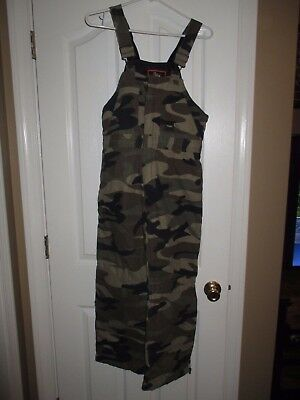 WALLS youth SZ XL camo print KID 2 GROW SYSTEM insulated bib overalls