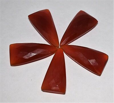 Natural Orange Chalcedony Triangle Faceted Gemstone, 5 Pieces, 30x15 mm 84 Cts.