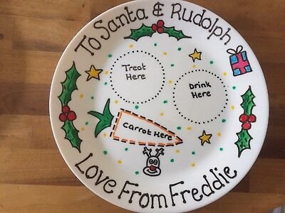 Personalised Christmas Eve Plate Santa Rudolph