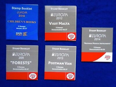 2010<2014 Malta 5 Stamp Booklets + Local Collection JB:B15<B19 CV£35+