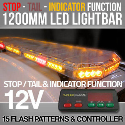 1200mm LED Lightbar with Stop Tail Indicator   Bolt Mount   Clear Lens   12V
