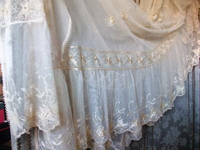 Exquisite Antique French Boudoir Lace & Silk Embroidery Frilly Bedcover c1900