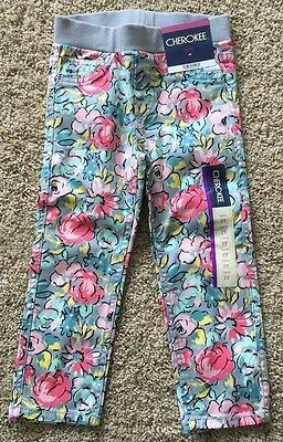 NWT Infant Girl's Cherokee Floral Stretch Jegging Pants 18 Months