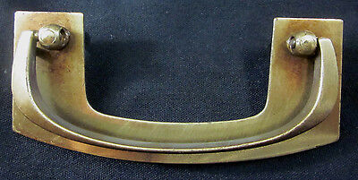 "Vintage brass plated mid century modern drawer drop bail pull handle 3-1/2""C-C"