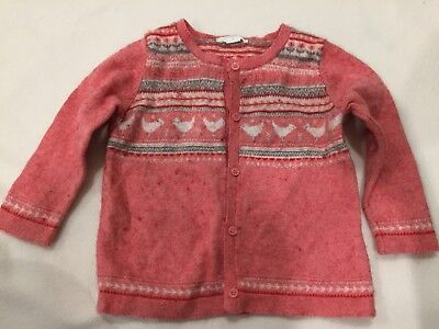Purebaby Girl's Pink Wool Mix Knitted Cardigan Size 1