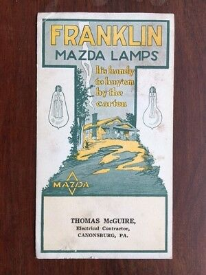 FRANKLIN MAZDA LAMPS Advertising Blotter / Canonsburg, PA Electrical Contractor