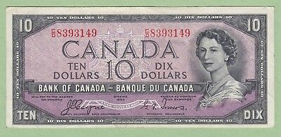 1954 Bank of Canada 10 Dollar Note Devil's Face - Coyne/Towers - C/D8393149 - VF