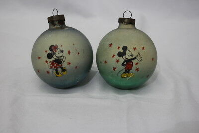 Rare Pair of Disney Mickey and Minnie Christmas Ornaments; Vintage / Antique