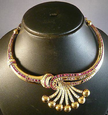 Antique? Vintage 20.7K Gold Collar Inlaid Art Deco Style Necklace  Bridal  India