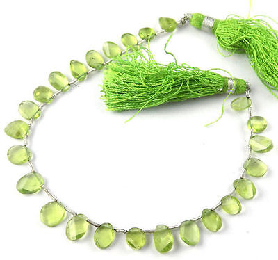 """1 Strand Peridot Briolette 5x6-6x9mm Twisted Oval Side Drilled Beads 7.5"""" Long"""