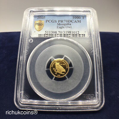 [2005 MNG Coin]1x Mongolia 1000 Togrog Gold Coin Eagle Owl PCGS PR70DCAM
