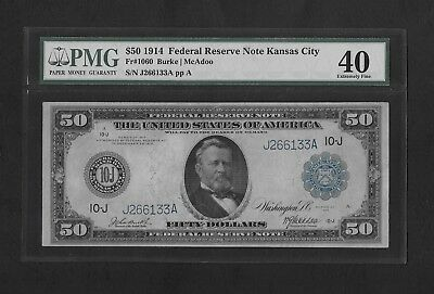 1914 $50 Federal Reserve Note Fr 1060 - Kansas City - Blue Seal - PMG 40 XF