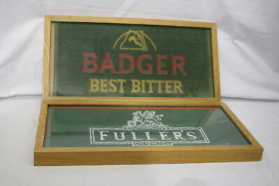 "Pair of Vintage Collector's Beer Towels In Frames: BADGER & FULLER'S 21""x10"""