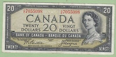 1954 Bank of Canada 20 Dollar Note Devil's Face - Beattie/Coyne -C/E7055098- VF