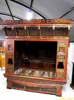 A Very Ornate Chinese Marriage Bed / Opium Bed