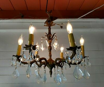 Ornate Vintage 50s Spanish 6 Arm Brass Chandelier Lots of real Crystals