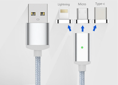 3 in 1 Magnet Ladekabel Lightning, USB, USB-C iPhone iPad Samsung HTC magnetisch