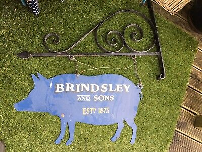 Vintage Salvaged Butchers Hanging Wrought Iron Sign