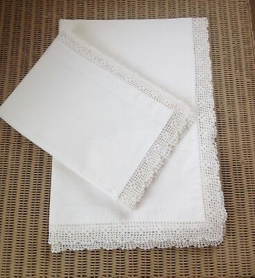 Pair Vintage Quality Cotton Lace Edged Pillowcases