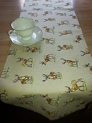 Handmade Table Runner,Linen Look, Stags/Deer ,136  x 31 cm.Cotton
