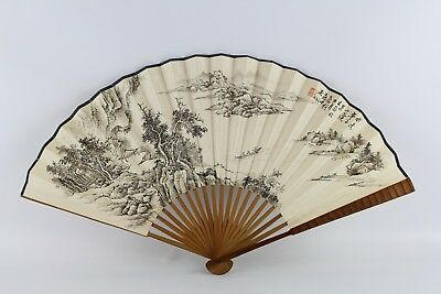 Old Chinese Ink On Paper Fan Painting Of Landscape