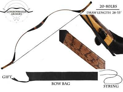 20-80#  Mongolia Bow Handmade Brown Snakeskin Longbow Archery Hunting Manchu Bow
