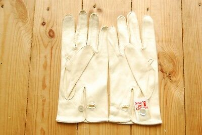 Men's Vintage Ceremonial Cream Chamois Leather Dress Wedding Gloves Size 9