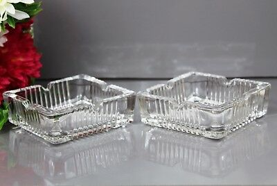 Pair Of CRYSTAL Cut Glass Ash Tray Gift