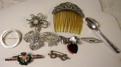 Antique Jewelry Lot Jeweled Hair Comb Thistlle Bar Pin-Brooches Guilloche Spoon*