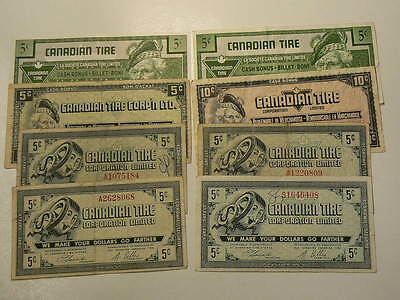 Canadian Tire Coupons Lot of 8 Notes,5 & 10 Cents #G7455