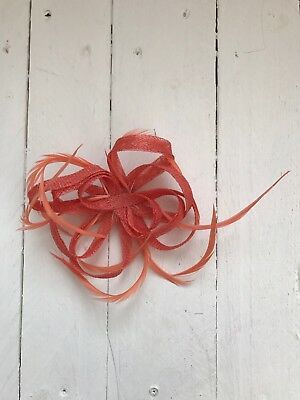 Coral Fascinator Coral Feathers Hair Clip Ladies Day Races Party Wedding