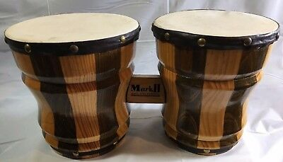 Vintage Pair Wooden Striped Bongo Drums Mark II Made in Mexico