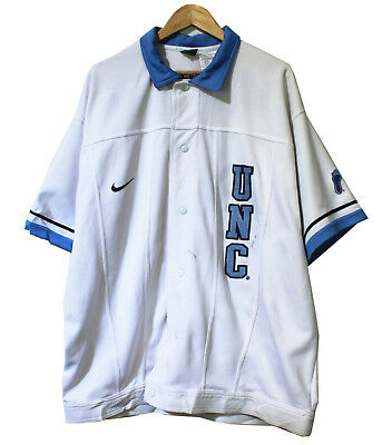 Vintage Nike North Carolina UNC White Baseball Jersey shirt Sz xl