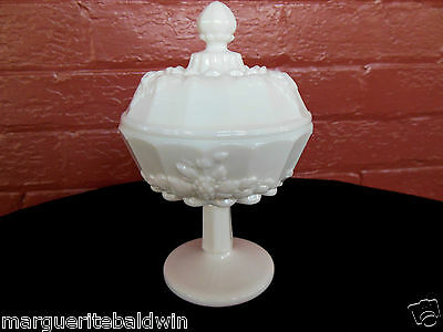Westmoreland Milk Glass Opaque White Paneled Grape Compote with Cover