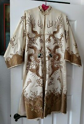 Antique Hand Embroidered Silk Chinese 5 Claw Dragon Court Robe
