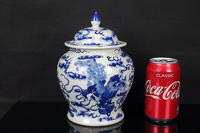 Large Chinese 19Th Century Kangxi Style Blue & White Foo Dogs & Clouds Jar