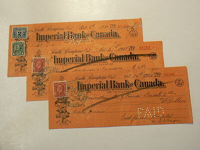 Imperial Bank of Canada Checks with Stamps from 1932 1933 & 1934 #G7470