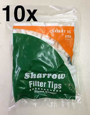 10 Sharrow Filter Tips Skinny XL 10 Packets x 200 = 2000 Filter Tips - New
