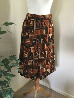Vintage Geometric Print Autumn Winter Skirt Sz 10 Brown 1970s