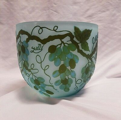 ~Signed~ Galle Tip Cameo Art Glass Blue With Grape Veins