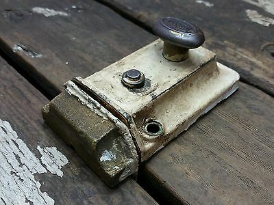 VTG Old Antique SHABBY Rustic EAGLE Night Latch Lock Security Bath Door