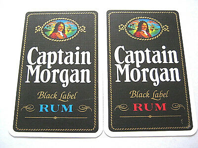 VINTAGE PLAYING CARDS SINGLE SWAP X2 SET OF 2 CAPTAIN MORGAN RUM 1970s