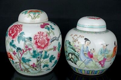Two Beautiful Chinese 19Th / 20Th C Famille Rose Figures & Flowers Jar - Signed