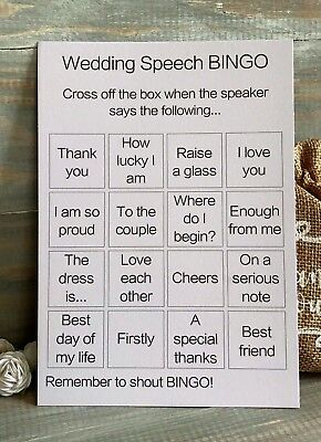 Wedding Speech Bingo Cards Tags Favours Games Kids Activity Packs Decorations!