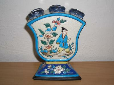 Rare French Longwy(?) Enamelled Pottery Chinoiserie Tulip Vase, 19Th/20Th C.