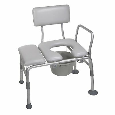 1 Pack Padded Seat Transfer Aluminum Frame Bench with Commode Opening Gray