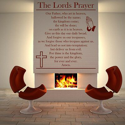 The Lords Prayer Praying Hands & Cross Religious Wall Stickers Home Art Decals