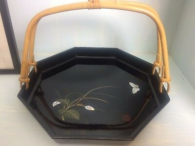 Vintage Black Lacquer Japanese Tray With A Bamboo Handle