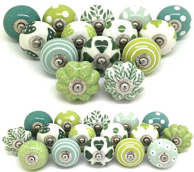 Sets of Green & White Ceramic Door Knobs SECONDS Sets of 16, 14, 12 ,10, 8, 6, 4